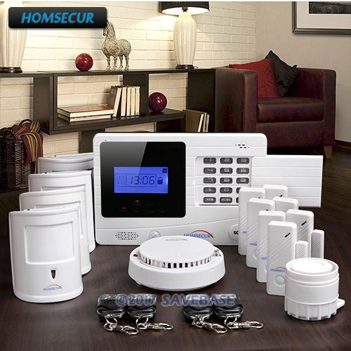 HOMSECUR Wireless GSM SMS Burglar Alarm System+4 Pet Friendly Motion Sensors ...