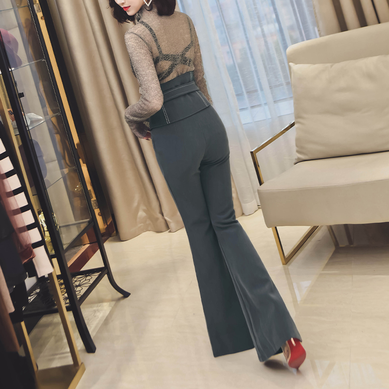 Trabajo Alta Mujeres Femenino L 1 Pantalones Negro S Más Larga Pierna Cintura 2 Campana Delgada Tamaño M Algodón Slim Oficina Ancha q6pgz1