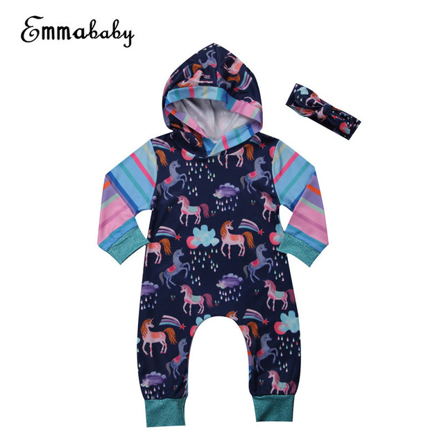 37b4d8db73a0 Emmababy Unicorn Baby Rompers bebe Girl Boy Clothes Hoodies rain stars  funny print Jumpsuit Romper Playsuit Outfits