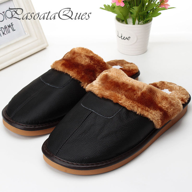 4ace2de00a17 Real Leather Autumn Winter Men Women Shoes Faux Fur Indoor Househome  Breathable Slippers Pasoataques Brand Asspfle094