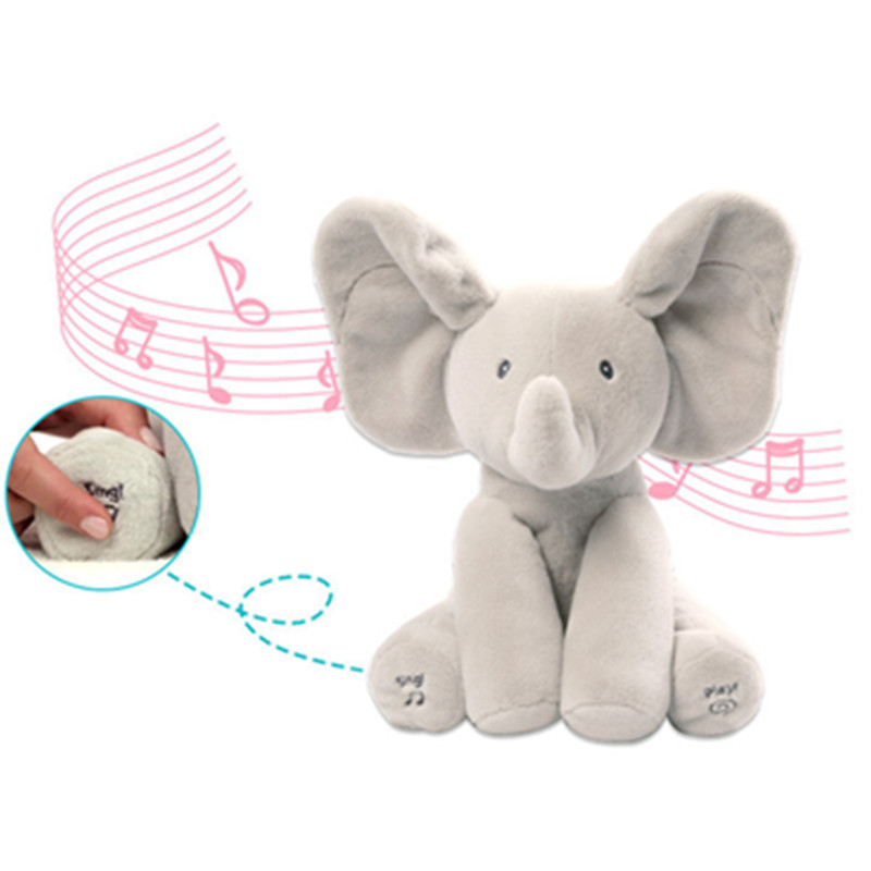 Wholesale Elephant Plush Toy Sing and Play Elephant Plush Stuffed Toys Interactive Funny Baby Doll Kawai Animal Electronic Toys elephant animal series many chew toy