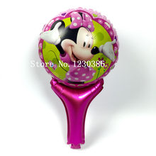 1pcs/lot Minnie Cheering Sticks Balloons Hand Stick Minnie Cartoon Mouse Mylar Ballons Inflatable Balloon With Sticks Toy(China)