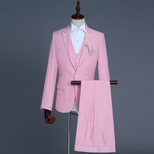 Formal Suits Men 2019 Long Sleeve Dress Mens Casual Prom For Solid Suit Slim Fit Pink Designs Clothes Three Piece Set Coat Pants