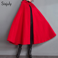 Sisjuly Red Vintage Hooded Cloak Jacket Women Winter Thick Capes Retro Loose Woolen Pocket Solid Fashion Female Button Poncho