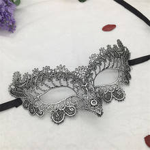 Silver Hot Stamping Ladies Sexy Lace Masquerade Mask for Carnival Halloween Prom Half Face Ball Party Masks Cutout Eye Mask #10(China)