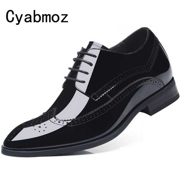 Cyabmoz Buiness Dress Shoes Men Height Increase Elevator Shoes Genuine Patent Leather Invisibly 7cm Formal Classic Brogue Oxford