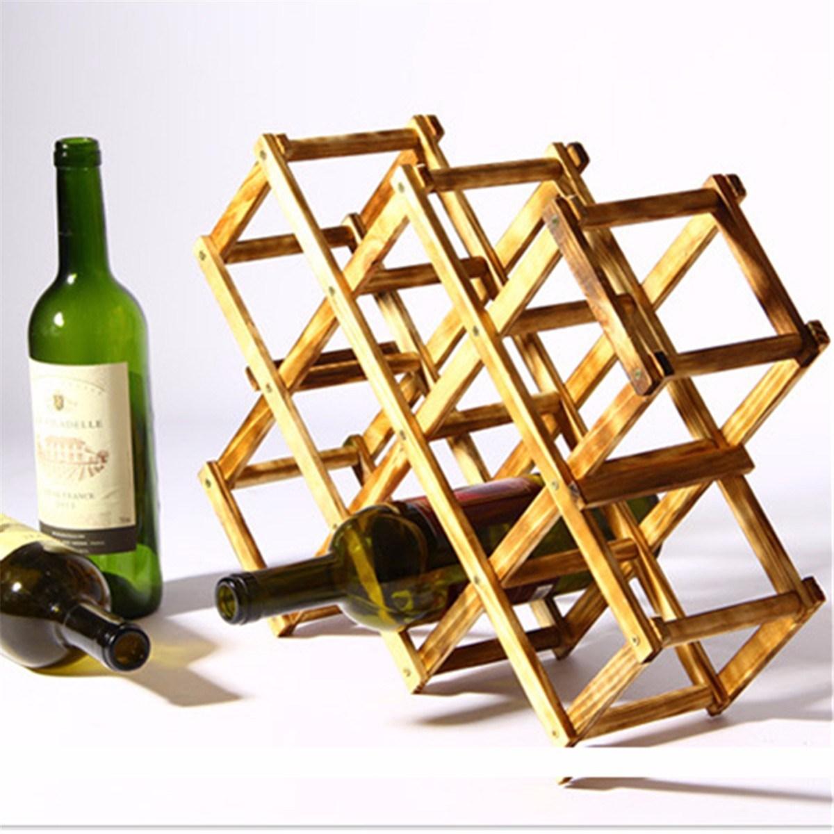 Portable Folding Wood Wine Bottle Holder Rack Storage Shelf