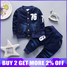 BibiCola baby boys clothing sets 2018 autumn spring kids boys jeans clothes sport suit toddler boys casual tracksuit clothing