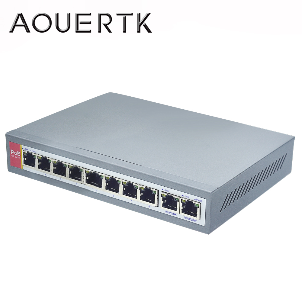 AOUERTK EIEEE802.3af 4+2 Port PoE Switch For Camera Over Ethernet PoE&Optical Transmission For IP Camera System Network Switches