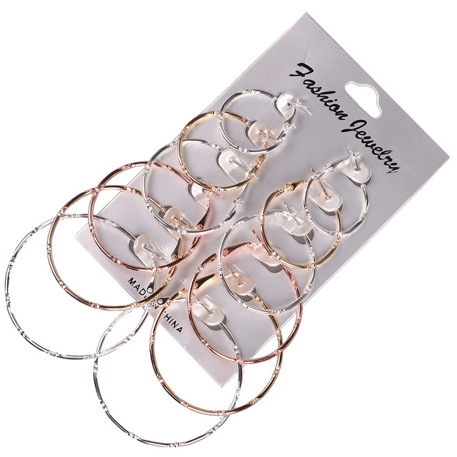 a170abc22d 6 Pairs/set Punk Gold Mix Color Size Big Circle Earrings for Women Hoop  Steampunk Ear Women Statement Earring Set Party Jewelry