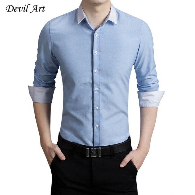 2017 Nueva Llegada Para Hombre de Manga Larga Camisas de Vestir de Negocios de Moda Da Vuelta-abajo Slim Fit Camisas Oxford Envío Libre C09