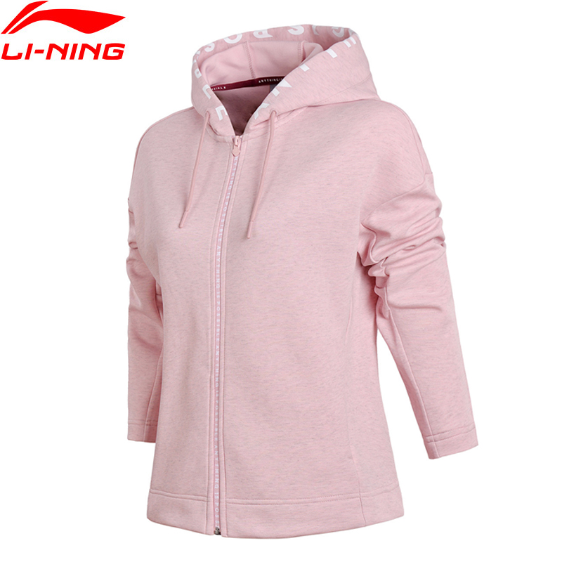 Li-Ning 2018 Women FZ Knit Hoodie Sweater Knit Fitness Sports Life Jacket Zip Comfort Pondiroma Li Ning Sports Sweaters AWDN054 violeta by mango women s lapel knit jacket