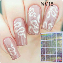 #NV15 1 Sheet Nail Vinyl Stencil Snake Manicure Stencil Non-hollow Out Nail Art Stencils Set Hot Nail Art Decals And Stickers(China)