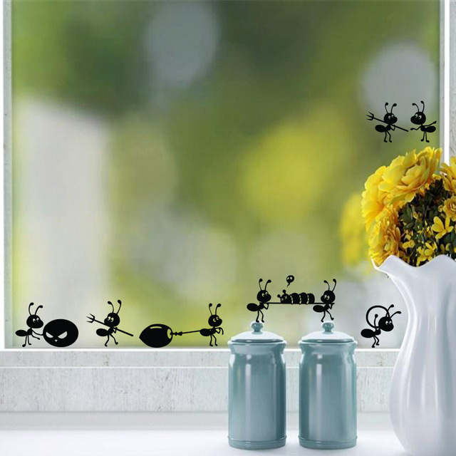 Cartoon Black Ants move Wall Sticker for children's rooms Home Decor Glass windows Decoration poster Mural art Decals stickers