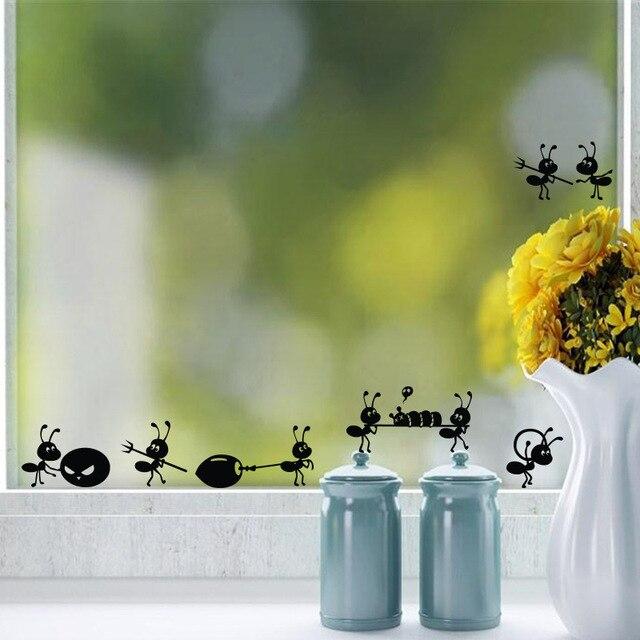 Formigas dos desenhos animados Preto mover janelas De Vidro Adesivo de Parede para quartos de crianças Decoração Da Casa poster Decoração Mural art Decalques adesivos