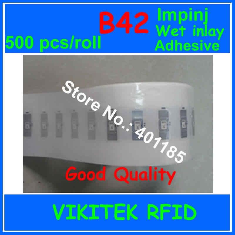 Impinj B42 УВЧ клей RFID мокрый декор 500 шт. за рулон 860-960 МГЦ Monza4 915 М EPC C1G2 ISO18000-6C может быть использован для Rfid Label