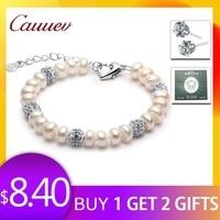 2018 New Charm Bracelet Pearl Jewelry zircon Bracelet 100% Natural Freshwater Pearl 925 Sterling Silver Bracelet gift For Women