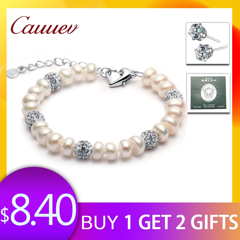 2018 Neue Charme Armband Perle Schmuck Zirkon Armband 100% Natürliche Süßwasser Perle 925 Sterling Silber Armband Geschenk Für Frauen QualitäT Und QuantitäT Gesichert