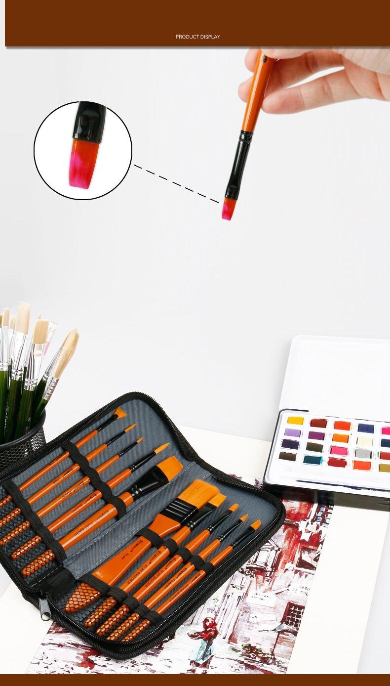 pintura a óleo de segurança escovas acrílicas com saco de pano artista