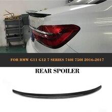 New 7 Series Carbon Fiber Rear Trunk Custom Spoiler Wing Trim Sticker for BMW G11 G12 2016 2017 740i 750i AC Style carbon fiber rear spoiler window wing for bmw g11 g12 7 series 740i 750i sedan 4 door 2016 2018 mp style