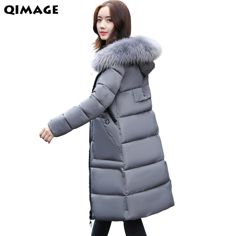 QIMAGE Parka Winter Warm Parkas Fashion Turn Down Collar Casual Loose Cotton Coat Many Colors Long Jacket Big Pocket Hot zoe saldana 2017 women winter jacket down cotton padded coats casual warm winter coat turn down collar long loose parkas