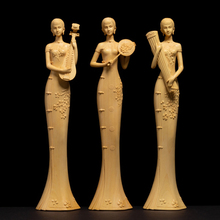 Chinese style High quality Woodcarving hall Ornaments Figure statue Manual craft Wooden crafts Sculpture Beauty Ornament