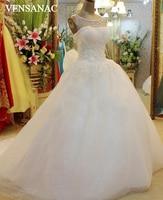 New A Line Crystal Boat Neck Tank Sleeveless Court Train White Satin Bridal Wedding Dress Wedding