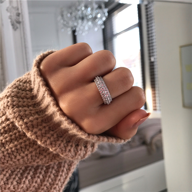 Image 3 - choucong Statement Rotatable Promise Ring 925 sterling Silver AAAAA Zircon cz Engagement Wedding Band Rings For Women Jewelry-in Wedding Bands from Jewelry & Accessories