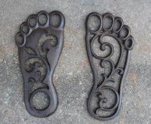 2 Pairs Cast Iron Door Mat Foot Design Brown Welcome Doormat Outdoor Plaque Garden Patio Courtyard Lawn Floor Home Decor