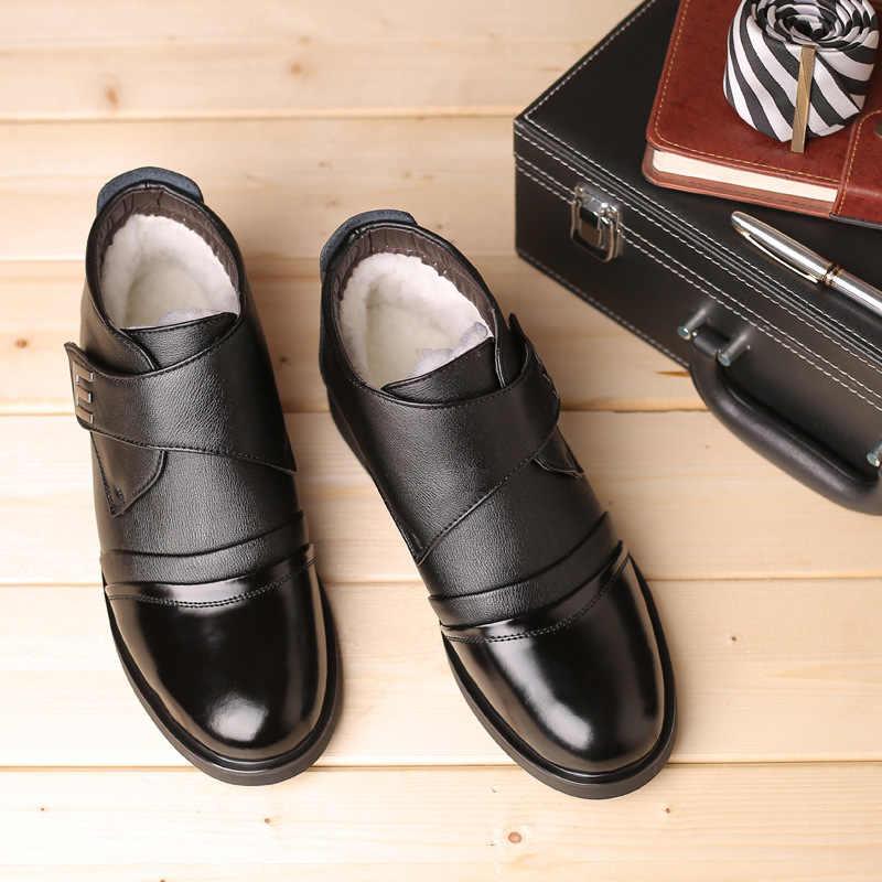 Hoge kwaliteit Mannen Laarzen Mode Mannen Enkellaars Winter Mannen Snowboots Mannelijke Oxfords Schoenen Lederen Laarzen mannen casual Schoenen