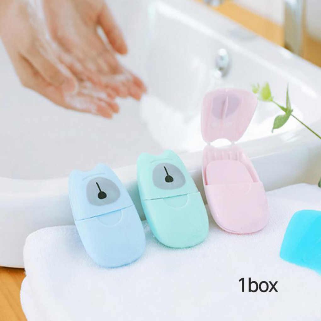 50 pçs/caixa Descartável Sabão Em Caixa de Papel Conveniente Viagem Banho Lavar as Mãos Perfumado Folhas Fatia de Espuma Caixa de Sabão De Papel