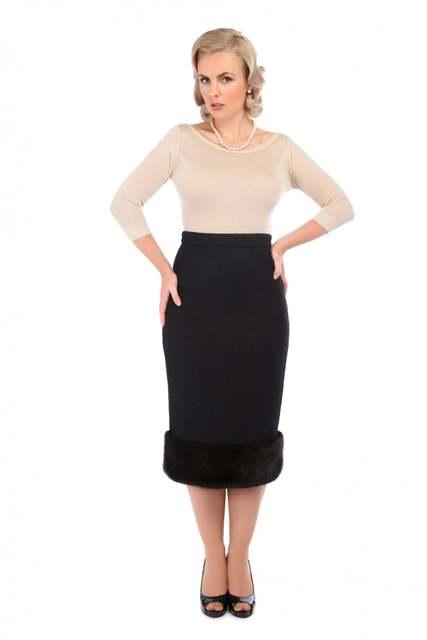 5616cc1bbe8 40- winter women vintage 50s faux fur trim wool wiggle pencil skirt in  black plus size saia pinup faldas jupe skirts