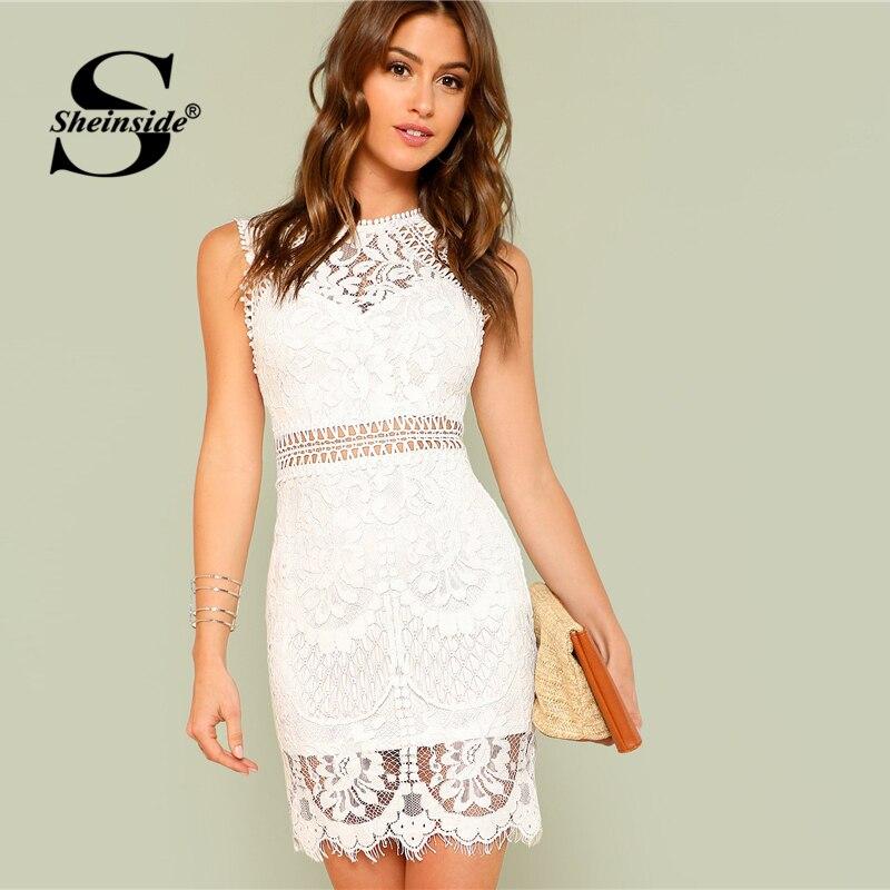 Sheinside выдалбливают вставить кружевное платье Для женщин Белый шею облегающее платье без рукавов летние женские спецодежды вечернее платье-...