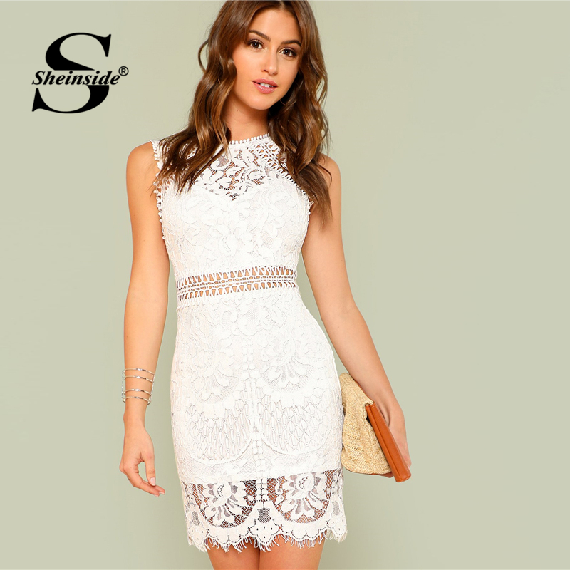 Sheinside Hollow Out Insert Lace Dress Women White Round Neck Sleeveless Bodycon Dress Summer Ladies Workwear Sheath Party Dress