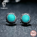 VOROCO Original 925 Sterling Silver Birthday Blooms Earrings, December, Turquoise Stud Earrings for Women Jewelry PS431