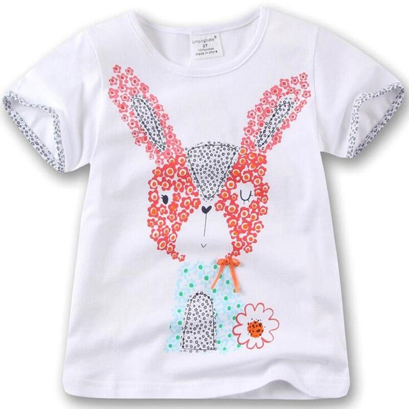 c8453a34d فتاة الاطفال زهرة الأرنب قصيرة الأكمام تي شيرت س الرقبة الفتيات الأرانب  البيضاء t-shirt قمزة الأطفال الصيف القطن قمم المحملات الملابس