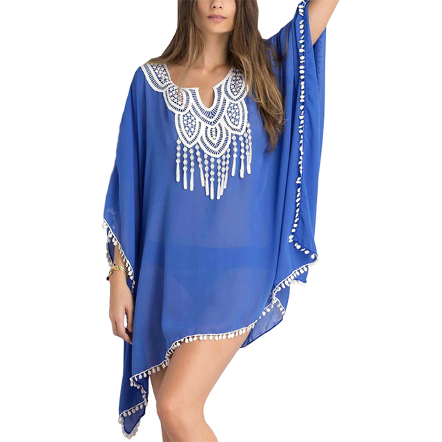 European American Wind Chiffon T Shirt Bat Sleeve Sunscreen Air Conditioning Women Beach Clothing Vestidos Lbd908