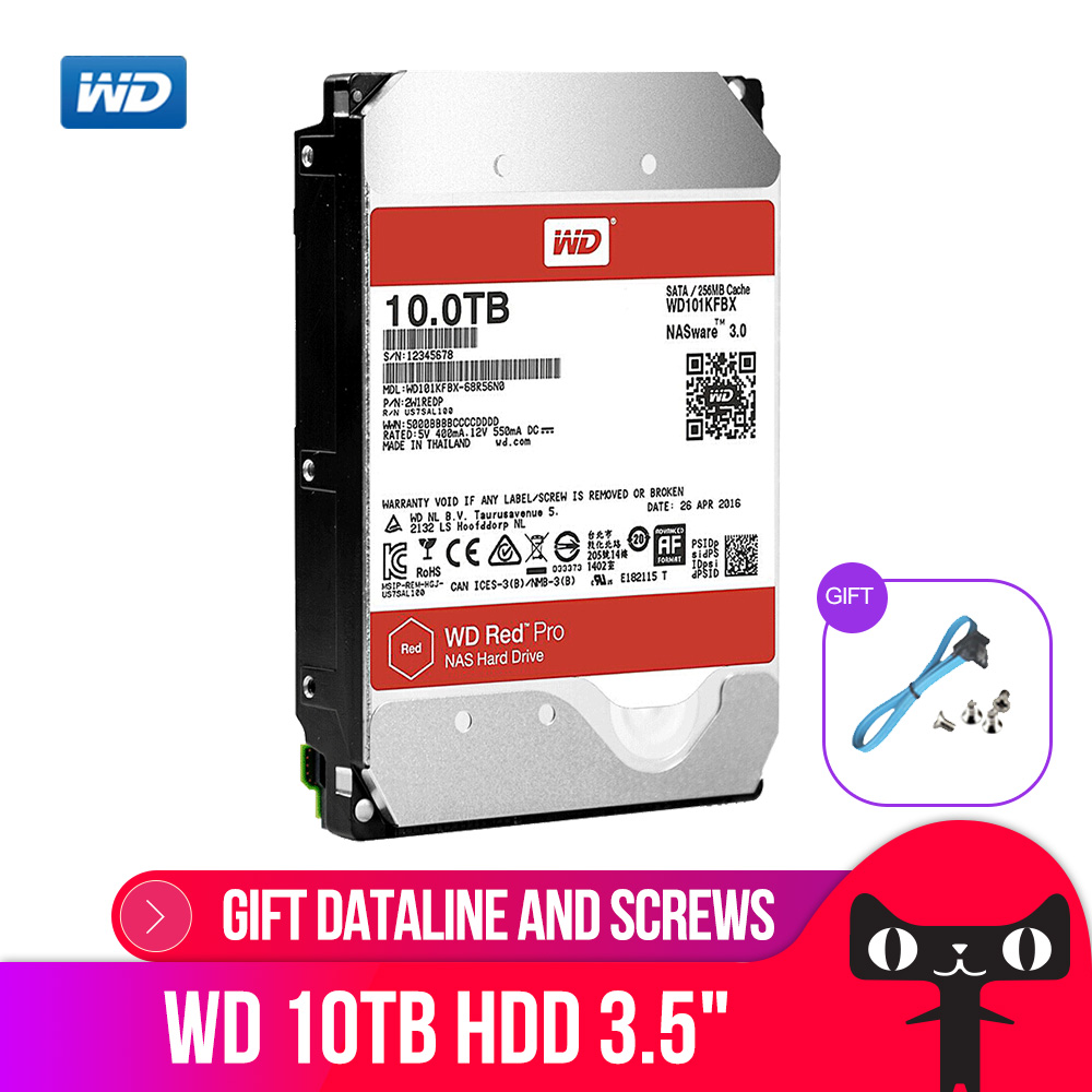 WD RED Pro 10TB Disk Network Storage 3.5 '' NAS Hard Disk Red Disk 10TB 7200RPM 256M Cache SATA3 HDD 6Gb/S