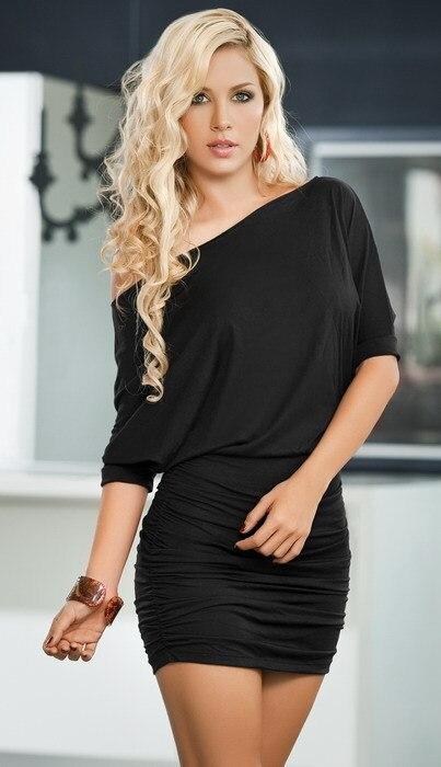 Summer dress 2015  women dress sleeve fold  Inclined shoulder sexy dress short batwing sleeve  free shipping