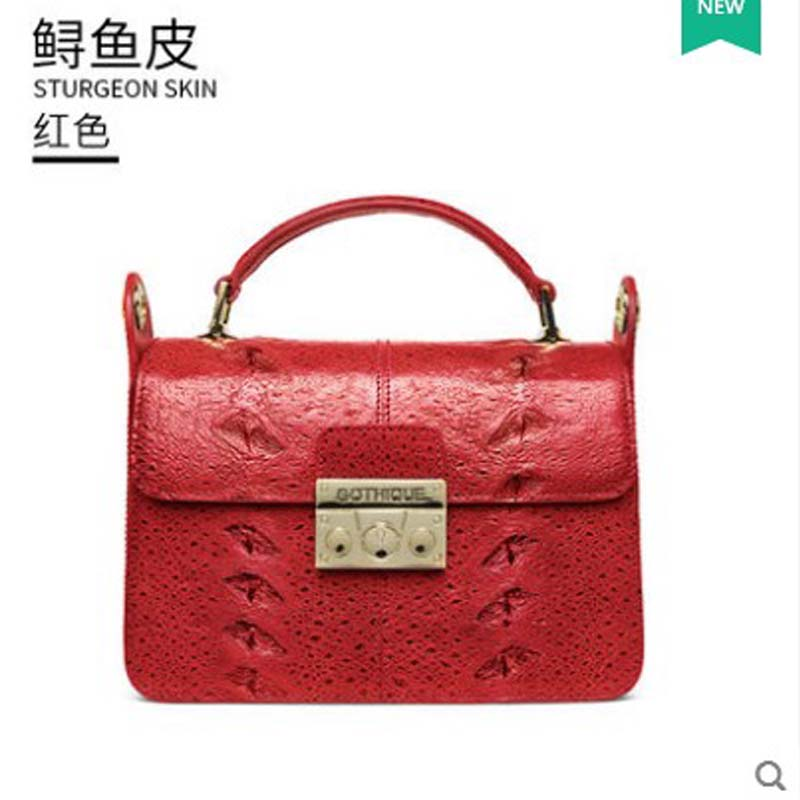 gete New Sturgeon skin female bag women handbag real leather single shoulder bag small side bag fashion fish bag girl yuanyu real snake skin women bag new decorative pattern women chain bag fashion inclined single shoulder women bag