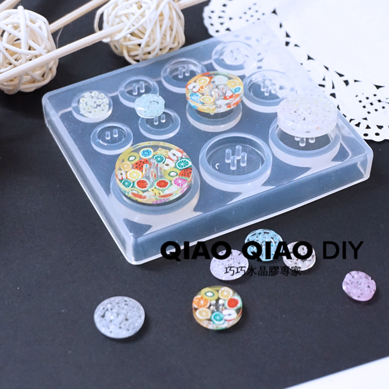 1PC Button Pendant Craft DIY Transparent UV Resin Epoxy  Silicone Combination Molds For DIY Making Finding Accessories Jewelry
