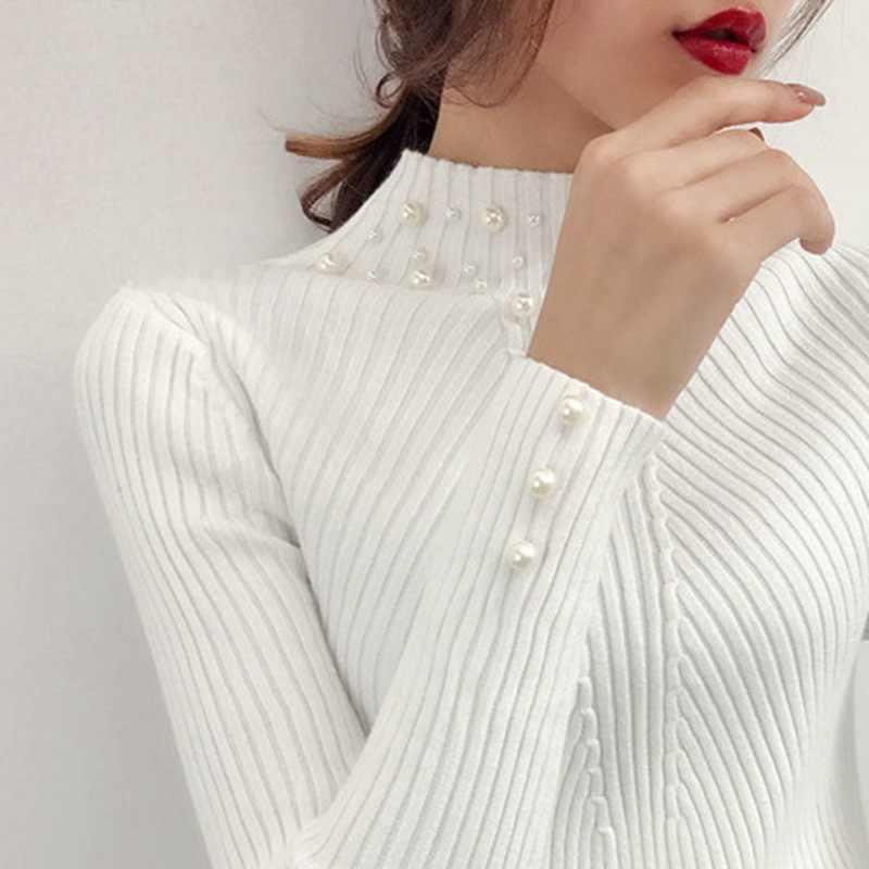 2019 ใหม่ฤดูใบไม้ร่วง/ฤดูหนาวผู้หญิงไข่มุกเสื้อกันหนาวความยืดหยุ่นสูง Slim หญิงคอยาวคอยาวแขนยาวถักเสื้อกันหนาวและ Pullover SW854