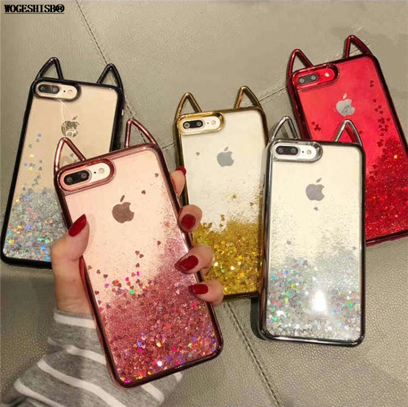 Liquid Glitter Case for iPhone X Electroplate Plating Cat Ear Quicksand Soft Silicone Cover for iPhone 6 6S 7 8 Plus Cases iPhone