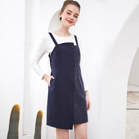 Spring 2 Piece Dress Set Women Long Sleeve Nave Blue Patchwork O neck Soft Vintage Dresses