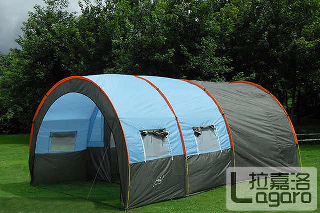 big doule layer tunnel tent 5-10 person outdoor camping family party hiking hunting fishing tourist tent house
