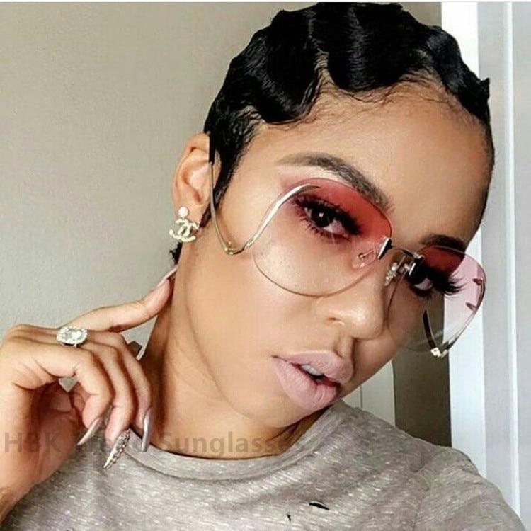 cbf96312b5a Classic Clear Rimless Glasses Gold Frame Gradient Vintage Sunglass Women  Men UV400 Cat Eye eyeglass Transparent