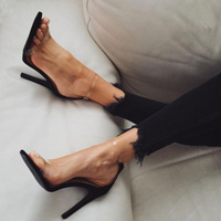2017 Hot Sale PVC Women Platform Sandals Super High Heels Waterproof Female Transparent Crystal Wedding Shoes