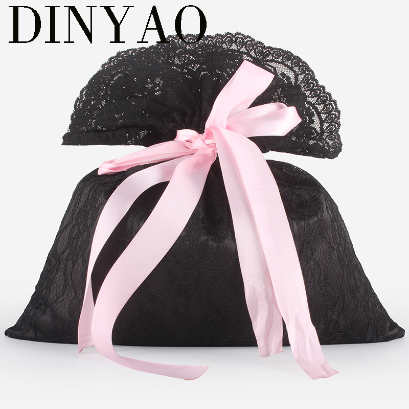 2pcs/lot 27*30cm High Quality Pink Bowknot Satin Silk Lace Drawstring Pouch Packaging Gift Bag Underwear Womens Travel Bag