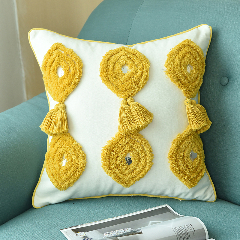 mustard and grey cushion covers online