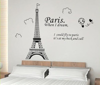 Paris Art Eiffel Tower Wall Stickers Quotes Bedroom Wall Stickers Home Decor Living Room Removable Decal